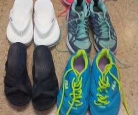 3 pairs of crocks an 3 pair of fila shoes For Sale