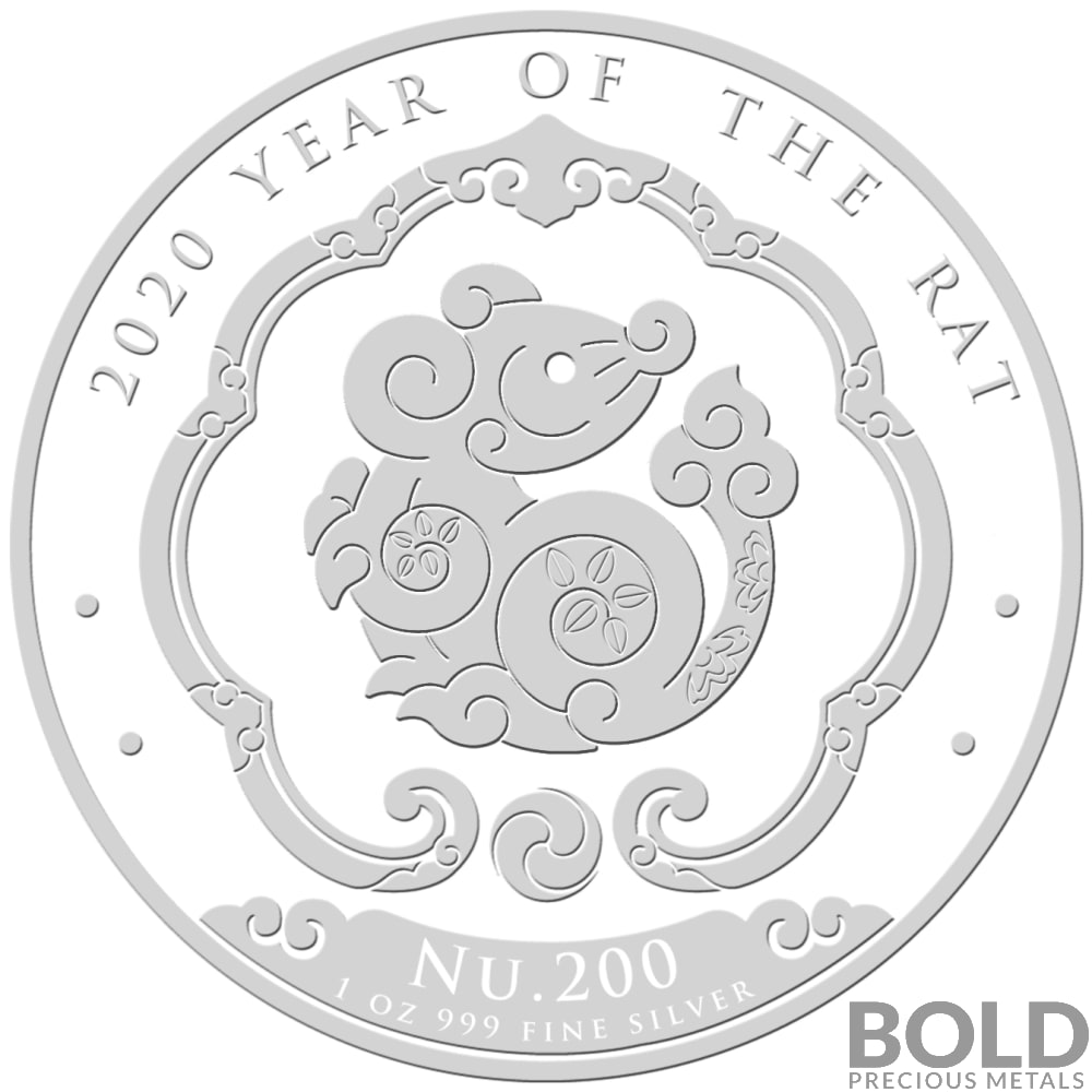 2020 Bhutan Lunar Year of the Rat Silver BU 1 oz