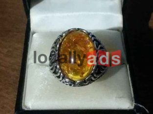 Silver Baltic Amber Ring For Sale