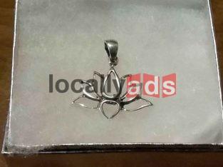 Silver Lotus Flower Pendant For Sale